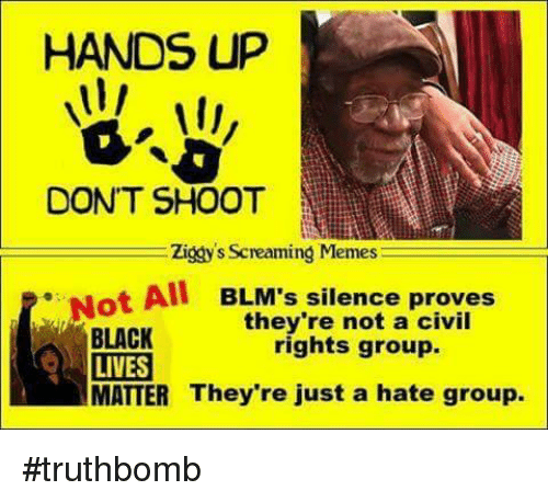 Memes, Black, and Silence: HANDS UP  DONT SHOOT  Ziggy's Screaming Memes  ot All BLM's silence proves  they're not a civil  BLACK  rights group.  LIVES  MATTER They're just a hate group. #truthbomb