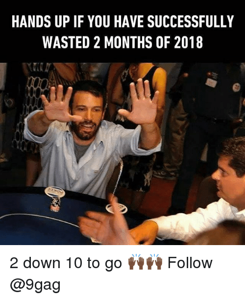 9gag, Memes, and 🤖: HANDS UP IF YOU HAVE SUCCESSFULLY  WASTED 2 MONTHS OF 2018 2 down 10 to go 🙌🏿🙌🏿 Follow @9gag