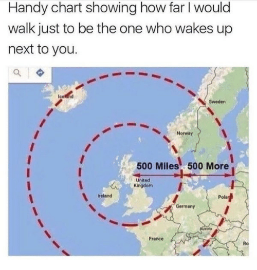 500 Miles: Handy chart showing how far I would  walk just to be the one who wakes up  next to you.  Sweden  Norway  500 Miles 500 More  United  Kingdom  ireland  Pola  Germany  France  Ro