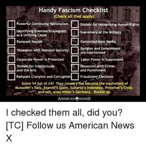 Crime, Memes, and News: Handy Fascism Checklist  (Check all that apply)  Powerful Continuing NationalismDisdain for recognizing Human Rights  Identifying Enemies/Scapegoats  as a Unifying Cause  Rampant Sexism  Obsession with National Security  Supremacy of the Military  Controlled Mass Media  Religion and Government  are Intertwined  □Corporate Power is Protected  □Labor Power is Suppressed  Disdain for Intellectuals  and the Arts  Obsession with Crime  and Punishment  Rampant Cronyism and Corruption  Fraudulent Elections  Score 14 out of 14? Your country has become the equivalent of  Mussolini's Italy, Franco's Spain, Suharto's Indonesia, Pinochet's Chile,  and yes, even Hitler's Germany. Buckle up.  AMERICAN NEWSX I checked them all, did you? [TC] Follow us American News X