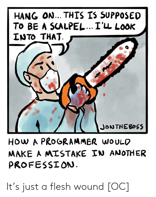 profession: HANG ON... THIS IS SUPPOSED  To BE A SCALPEL...I'LL LooK  LNTO THAT  HOw A PROGRAMMER woULO  MAKE A MISTAKE IN ANOTHER  PROFESSION It's just a flesh wound [OC]