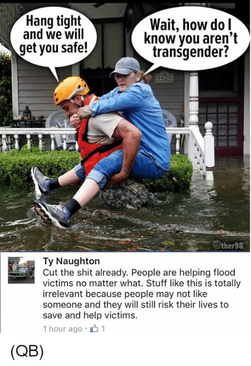 Memes, Shit, and Transgender: Hang tight  and we will  Wait, how dol  know vou aren't  transgender?  get you safe!  Ty Naughton  Cut the shit already. People are helping flood  victims no matter what. Stuff like this is totally  irrelevant because people may not like  someone and they will still risk their lives to  save and help victims.  1 hour ago .山1 (QB)