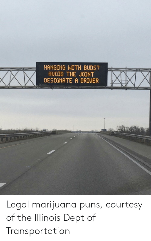 Marijuana: HANGING WITH BUDS?  AVOID THE JOINT  DESIGNATE A DRIVER  XXX Legal marijuana puns, courtesy of the Illinois Dept of Transportation