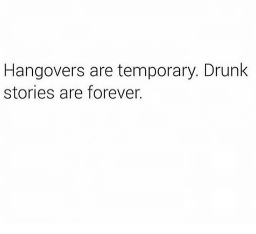 Drunk, Memes, and Hangover: Hangovers are temporary. Drunk  stories are forever.
