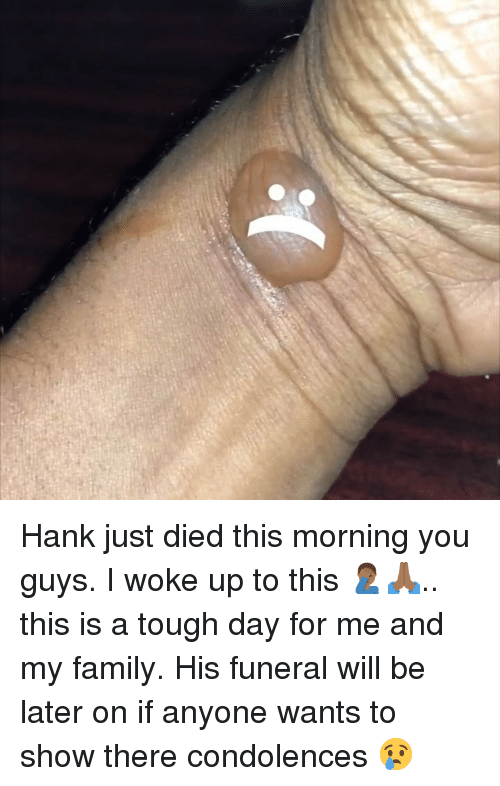Family, Memes, and Condolences: Hank just died this morning you guys. I woke up to this 🤦🏾‍♂️🙏🏾.. this is a tough day for me and my family. His funeral will be later on if anyone wants to show there condolences 😢