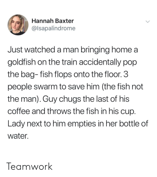 teamwork: Hannah Baxter  @lsapalindrome  Just watched a man bringing home a  goldfish on the train accidentally pop  the bag- fish flops onto the floor.3  people swarm to save him (the fish not  the man). Guy chugs the last of his  coffee and throws the fish in his cup  Lady next to him empties in her bottle of  water. Teamwork