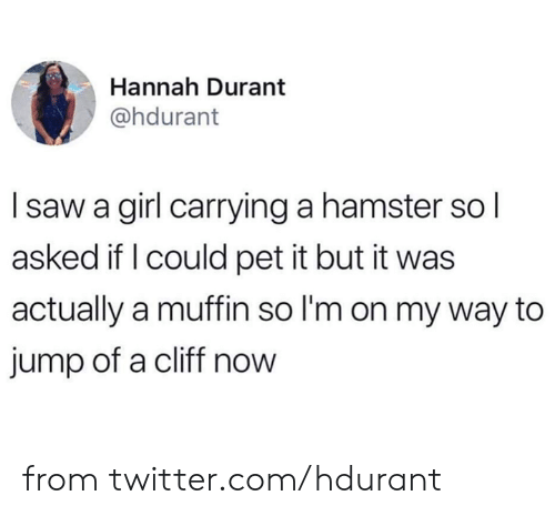 hannah: Hannah Durant  @hdurant  Isaw a girl carrying a hamster sol  asked if I could pet it but it was  actually a muffin so I'm on my way to  jump of a cliff now from twitter.com/hdurant