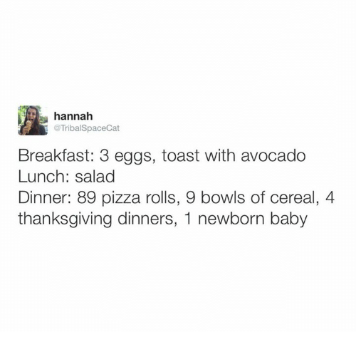 Memes, Pizza, and Thanksgiving: hannah  @Tribal SpaceCat  Breakfast: 3 eggs, toast with avocado  Lunch: salad  Dinner: 89 pizza rolls, 9 bowls of cereal, 4  thanksgiving dinners, 1 newborn baby