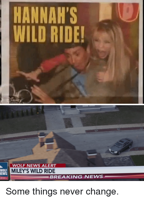 Wild Ride: HANNAH'SO  WILD RIDE!   WOLF NEWS ALERT  MILEY'S WILD RIDE  WOLF  EWS  NNEL  BREAKING NEWS Some things never change.