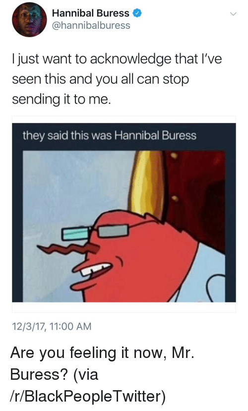 Blackpeopletwitter, Hannibal, and Hannibal Buress: Hannibal Buress  @hannibalburess  I just want to acknowledge that I've  seen this and you all can stop  sending it to me.  they said this was Hannibal Buress  12/3/17, 11:00 AM <p>Are you feeling it now, Mr. Buress? (via /r/BlackPeopleTwitter)</p>