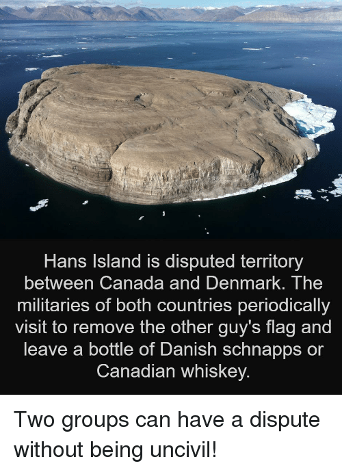 periodically: Hans Island is disputed territory  between Canada and DenmarK. The  militaries of both countries periodically  visit to remove the other guy's flag and  leave a bottle of Danish schnapps or  Canadian whiskey. Two groups can have a dispute without being uncivil!