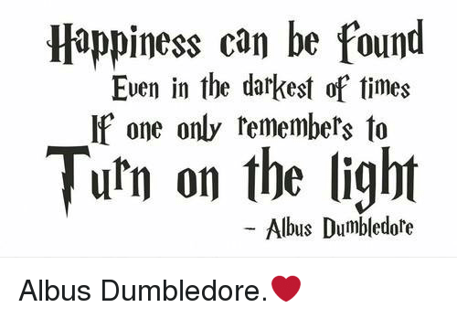 turning on the light: Happiness can be found  Even in the darkest of times  If one only remembers to  Turn on the light  Albus Dumbledore Albus Dumbledore.❤️
