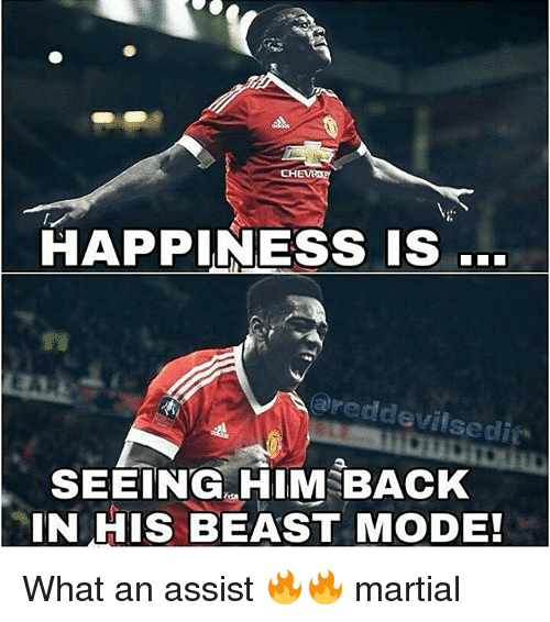 Beast Mode: HAPPINESS IS .  areddevilsedi  SEEING. HIM BACK  IN HIS BEAST MODE! What an assist 🔥🔥 martial