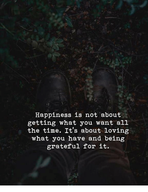 Time, Happiness, and All The: Happiness is not about  getting what you want all  the time. It's about loving  what you have and being  grateful for it.