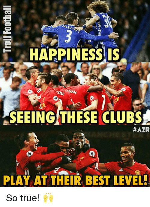 Memes, 🤖, and So True: HAPPINESS IS  UM  SEEING THESE CLUBS  #AZR  PLAY AT THEIR BEST LEWEL! So true! 🙌