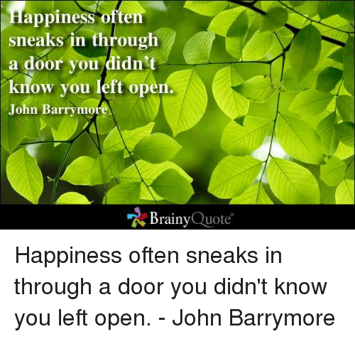 memes: Happiness often  sneaks in through  a door you didn't  know you left ope  John Barrymore  Brainy  Quote Happiness often sneaks in through a door you didn't know you left open. - John Barrymore