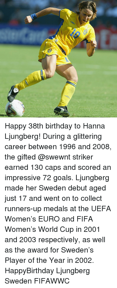 Runner Up: Happy 38th birthday to Hanna Ljungberg! During a glittering career between 1996 and 2008, the gifted @swewnt striker earned 130 caps and scored an impressive 72 goals. Ljungberg made her Sweden debut aged just 17 and went on to collect runners-up medals at the UEFA Women's EURO and FIFA Women's World Cup in 2001 and 2003 respectively, as well as the award for Sweden's Player of the Year in 2002. HappyBirthday Ljungberg Sweden FIFAWWC
