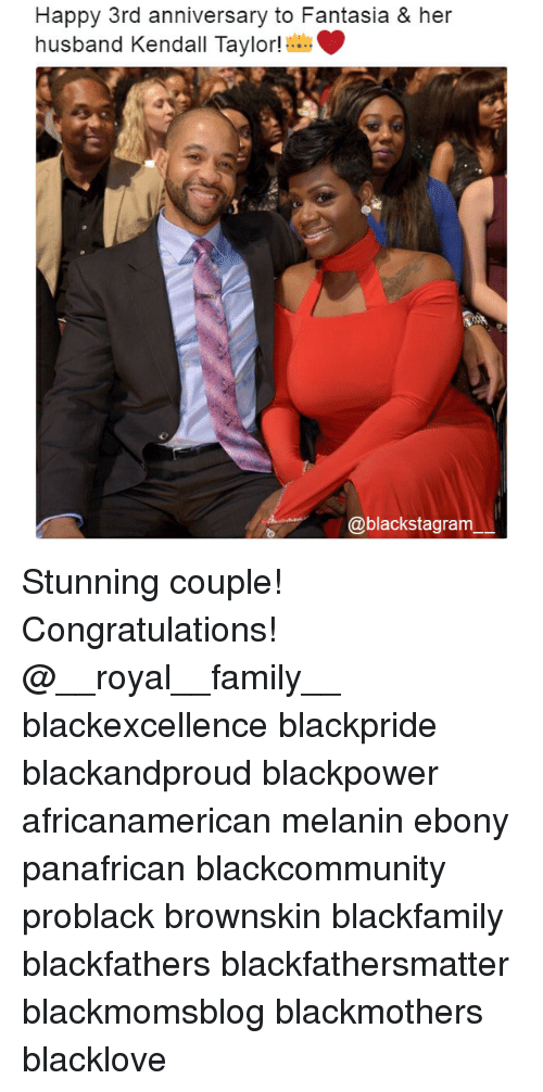 fantasia: Happy 3rd anniversary to Fantasia & her  husband Kendall Taylor!  @blackstagram Stunning couple! Congratulations! @__royal__family__ blackexcellence blackpride blackandproud blackpower africanamerican melanin ebony panafrican blackcommunity problack brownskin blackfamily blackfathers blackfathersmatter blackmomsblog blackmothers blacklove