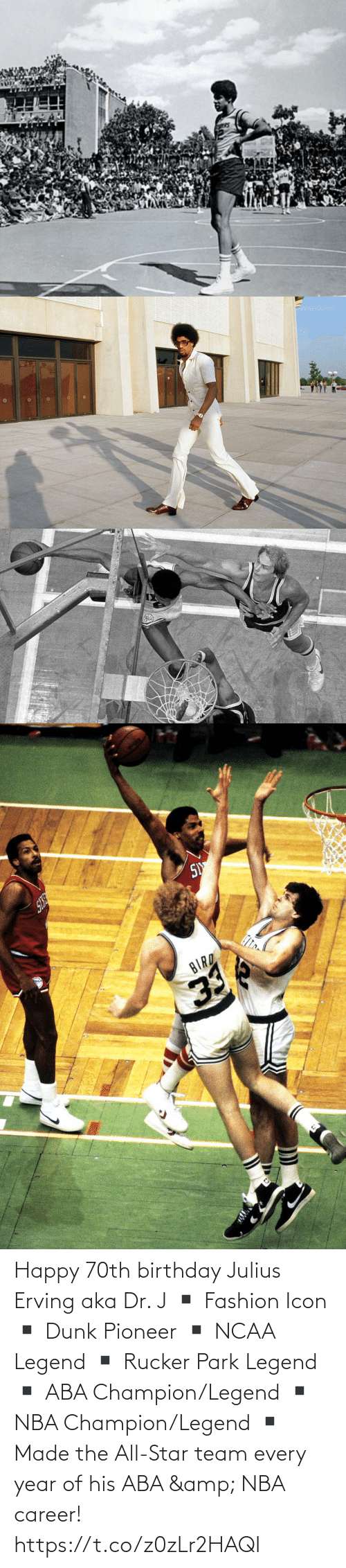Dunk: Happy 70th birthday Julius Erving aka Dr. J  ▪️ Fashion Icon ▪️ Dunk Pioneer ▪️ NCAA Legend ▪️ Rucker Park Legend ▪️ ABA Champion/Legend ▪️ NBA Champion/Legend ▪️ Made the All-Star team every year of his ABA & NBA career! https://t.co/z0zLr2HAQI