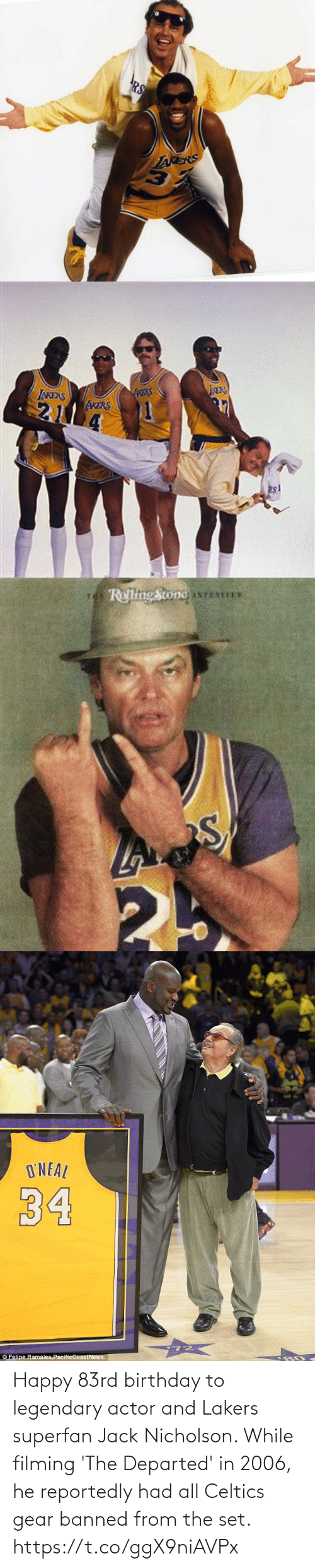 Celtics: Happy 83rd birthday to legendary actor and Lakers superfan Jack Nicholson.   While filming 'The Departed' in 2006, he reportedly had all Celtics gear banned from the set. https://t.co/ggX9niAVPx