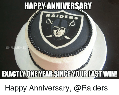 NFL: HAPPY ANNIVERSARY  RAI PERS  @NFL  EXACTLY ONEYEARSINCE YOUR LAST WIN! Happy Anniversary, @Raiders