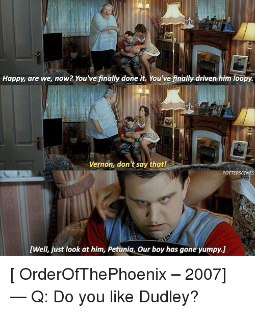 Finally Done: Happy, are we now? You've finally done it. You've finally driven him loopy  Vernon, don't say that!  POTTERSCENES  [Well, just look at him, Petunia. Our boy has gone yumpy.j] [ OrderOfThePhoenix – 2007] — Q: Do you like Dudley?