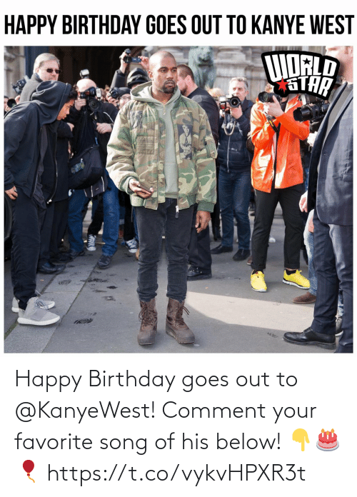 comment: Happy Birthday goes out to @KanyeWest! Comment your favorite song of his below! 👇🎂🎈 https://t.co/vykvHPXR3t