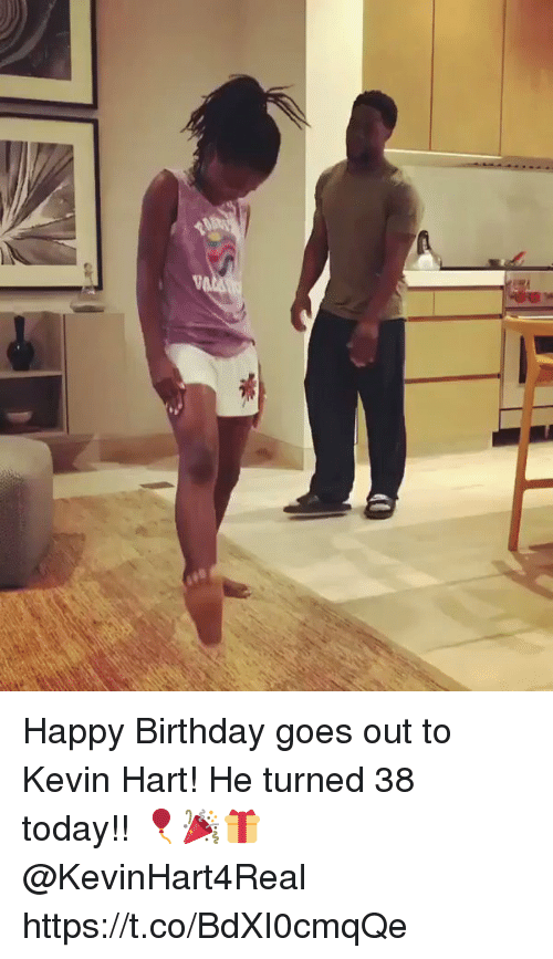 Birthday, Kevin Hart, and Happy Birthday: Happy Birthday goes out to Kevin Hart! He turned 38 today!! 🎈🎉🎁 @KevinHart4Real https://t.co/BdXI0cmqQe