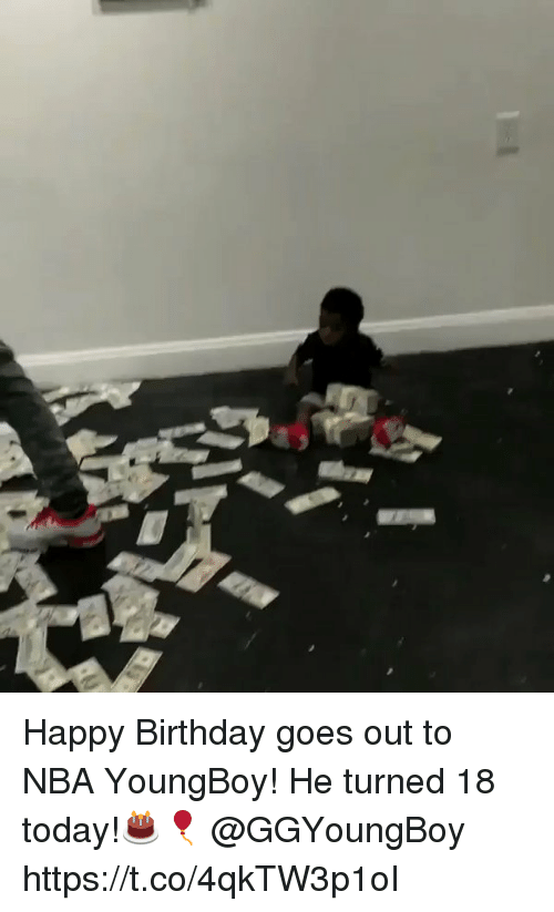 Birthday, Nba, and Happy Birthday: Happy Birthday goes out to NBA YoungBoy! He turned 18 today!🎂🎈 @GGYoungBoy https://t.co/4qkTW3p1oI
