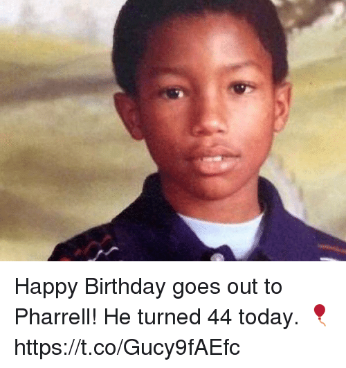 pharrell: Happy Birthday goes out to Pharrell! He turned 44 today. 🎈 https://t.co/Gucy9fAEfc