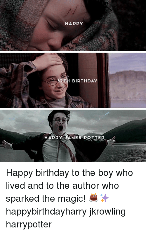 jkrowling: HAPPY  BIRTHDAY  HARRY AMES POTTER Happy birthday to the boy who lived and to the author who sparked the magic! 🎂✨ happybirthdayharry jkrowling harrypotter
