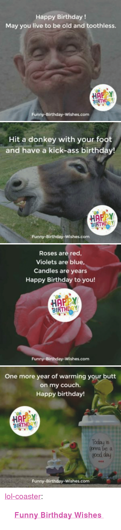 """happy birthday funny: Happy Birthday !  May you live to be old and toothless.  HAPPY  BIRTHDAY  Funny-Birthday-Wishes.com   Hit a donkey with your foot  and have a kick-ass birthday!  HAPY  BIRTHDAY  Funny-Birthday-Wishes.com   Roses are red  Violets are blue,  Candles are years  Happy Birthday to you!  HAPPY  BIRTHDRY  Funny-Birthday-Wishes.com   One more year of warming your butt  on my couch.  Happy birthday!  BIRTHDAY  goyna be a  good day  Funny-Birthday-Wishes.com <p><a href=""""http://lol-coaster.tumblr.com/post/153925909627/funny-birthday-wishes"""" class=""""tumblr_blog"""">lol-coaster</a>:</p><blockquote><p>  <a href=""""http://funny-birthday-wishes.com""""><b>Funny Birthday Wishes  </b></a><br/></p></blockquote>"""
