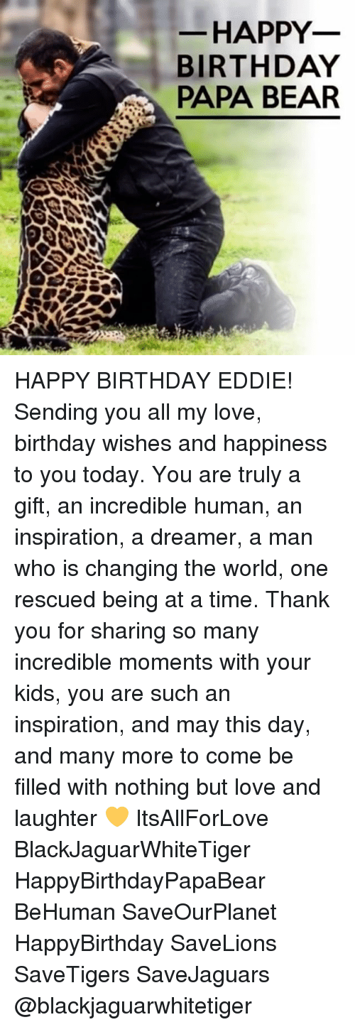papa bear: HAPPY  BIRTHDAY  PAPA BEAR HAPPY BIRTHDAY EDDIE! Sending you all my love, birthday wishes and happiness to you today. You are truly a gift, an incredible human, an inspiration, a dreamer, a man who is changing the world, one rescued being at a time. Thank you for sharing so many incredible moments with your kids, you are such an inspiration, and may this day, and many more to come be filled with nothing but love and laughter 💛 ItsAllForLove BlackJaguarWhiteTiger HappyBirthdayPapaBear BeHuman SaveOurPlanet HappyBirthday SaveLions SaveTigers SaveJaguars @blackjaguarwhitetiger