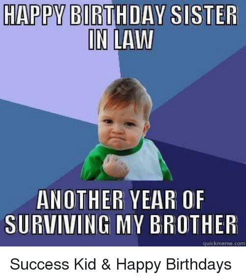 Birthday, Meme, and Memes: HAPPY BIRTHDAY SISTER  IN LAW  ANOTHER YEAR OF  SURVIVING MY BROTHER  quick meme com Success Kid & Happy Birthdays