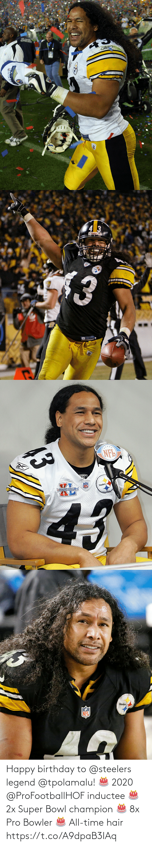 Birthday: Happy birthday to @steelers legend @tpolamalu! 🎂 2020 @ProFootballHOF inductee 🎂 2x Super Bowl champion 🎂 8x Pro Bowler 🎂 All-time hair https://t.co/A9dpaB3IAq