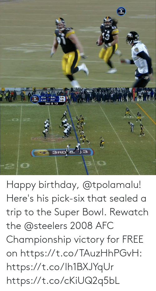 victory: Happy birthday, @tpolamalu! Here's his pick-six that sealed a trip to the Super Bowl.  Rewatch the @steelers 2008 AFC Championship victory for FREE on https://t.co/TAuzHhPGvH: https://t.co/lh1BXJYqUr https://t.co/cKiUQ2q5bL