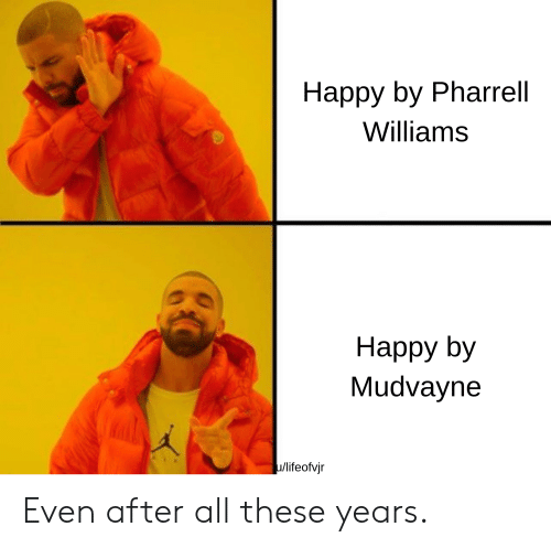 Pharrell Williams: Happy by Pharrell  Williams  Наррy by  Mudvayne  u/lifeofvjr Even after all these years.