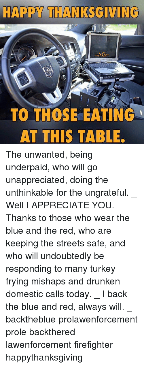 Memes, Streets, and Thanksgiving: HAPPY THANKSGIVING  LAGS  TO THOSE EATING  AT THIS TABLE. The unwanted, being underpaid, who will go unappreciated, doing the unthinkable for the ungrateful. _ Well I APPRECIATE YOU. Thanks to those who wear the blue and the red, who are keeping the streets safe, and who will undoubtedly be responding to many turkey frying mishaps and drunken domestic calls today. _ I back the blue and red, always will. _ backtheblue prolawenforcement prole backthered lawenforcement firefighter happythanksgiving
