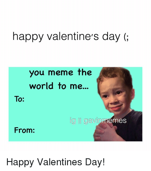 Meme Happy: happy valentine's day  you meme the  world to me.  To:  gawi  memes Happy Valentines Day!