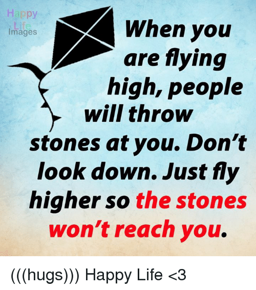 dont look down: Happy  When you  Images  are flying  high, people  will throw  stones at you. Don't  look down. Just fly  higher so the stones  won't reach you (((hugs))) Happy Life <3