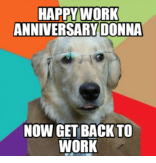 Happy Work Anniversary: HAPPY WORK  ANNIVERSARY DONNA  NOW GET BACK TO  WORK
