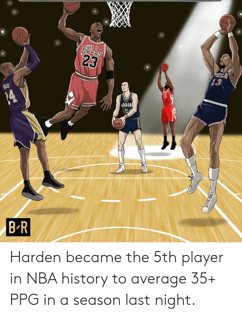 ppg: Harden became the 5th player in NBA history to average 35+ PPG in a season last night.