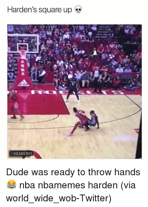 Basketball, Dude, and Nba: Harden's square up  @NBAMEMES Dude was ready to throw hands 😂 nba nbamemes harden (via world_wide_wob-Twitter)