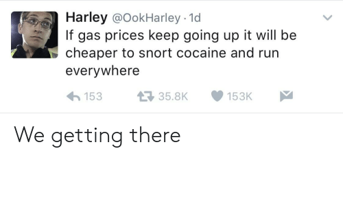 Harley: Harley @OokHarley - 1d  If gas prices keep going up it will be  cheaper to snort cocaine and run  everywhere  15335.8K153K We getting there