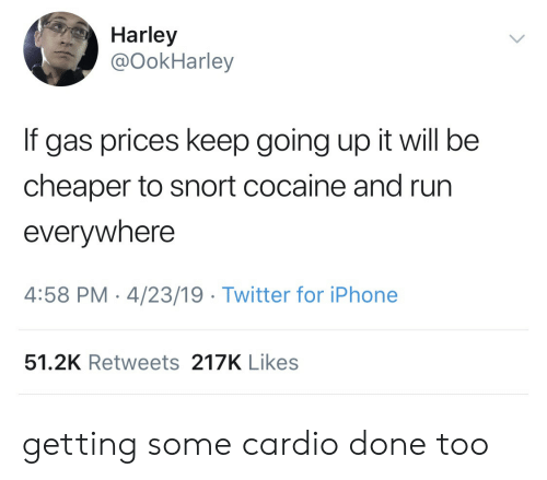 Harley: Harley  @OokHarley  If gas prices keep going up it will be  cheaper to snort cocaine and run  everywhere  4:58 PM-4/23/19 Twitter for iPhone  51.2K Retweets 217K Likes getting some cardio done too