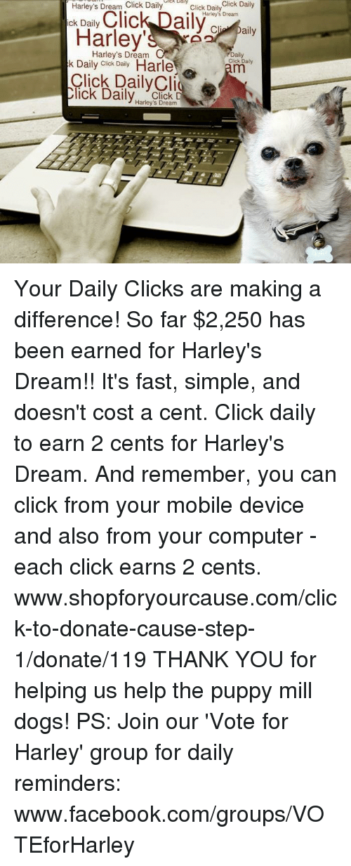 Click, Dogs, and Facebook: Harley's Dream Click Dailyly  ick Daily  Click DailyClick Dail  Harley's Dream  Harley s  Harley's Dream  rDaily  Click Daily  k Daily Cick Daily Harle  lick DailyClig  ck Dailv Click D  Harley's Dream Your Daily Clicks are making a difference! So far $2,250 has been earned for Harley's Dream!! It's fast, simple, and doesn't cost a cent.  Click daily to earn 2 cents for Harley's Dream. And remember, you can click from your mobile device and also from your computer - each click earns 2 cents.  www.shopforyourcause.com/click-to-donate-cause-step-1/donate/119  THANK YOU for helping us help the puppy mill dogs!  PS: Join our 'Vote for Harley' group for daily reminders: www.facebook.com/groups/VOTEforHarley