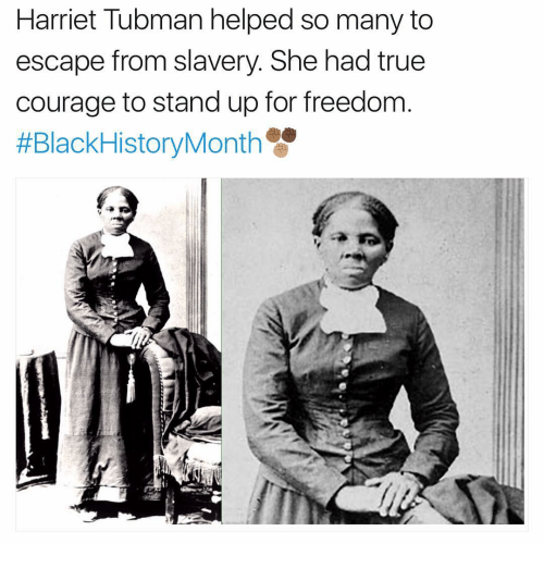 Memes, Harriet Tubman, and 🤖: Harriet Tubman helped so many to  escape from slavery. She had true  courage to stand up for freedom  HEBlackHistoryMonth