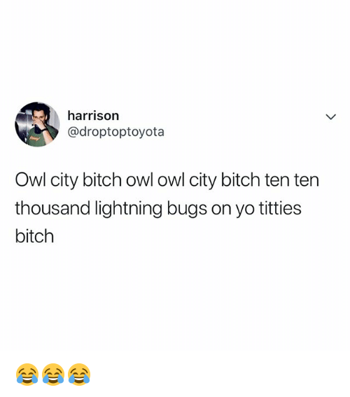 Bitch, Titties, and Yo: harrison  @droptoptoyota  Owl city bitch owl owl city bitch ten ten  thousand lightning bugs on yo titties  bitch 😂😂😂
