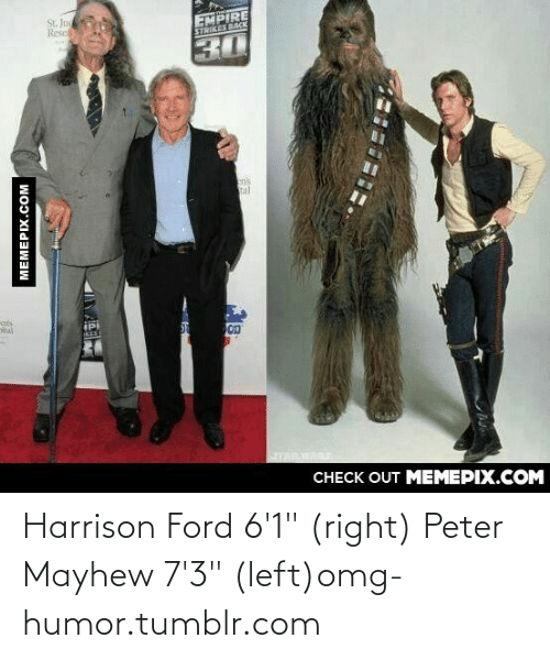 """Ford: Harrison Ford 6'1"""" (right) Peter Mayhew 7'3"""" (left)omg-humor.tumblr.com"""