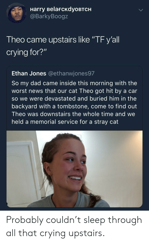 """tombstone: Harry BelafcKdyoBTCH  @BarkyBoogz  Theo came upstairs like """"TF y'all  crying for?""""  Ethan Jones @ethanwjones97  So my dad came inside this morning with the  worst news that our cat Theo got hit by a car  so we were devastated and buried him in the  backyard with a tombstone, come to find out  Theo was downstairs the whole time and we  held a memorial service for a stray cat Probably couldn't sleep through all that crying upstairs."""